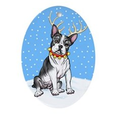 Boston Terrier Reindeer Oval Ornament