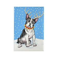 Boston Terrier Reindeer Rectangle Magnet