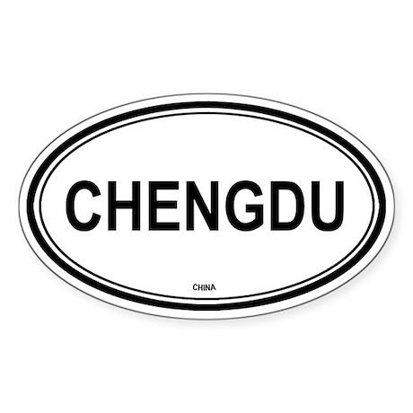 Chengdu, China euro Oval Sticker