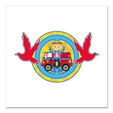 Hippie Girl and Camper Van Square Car Magnet
