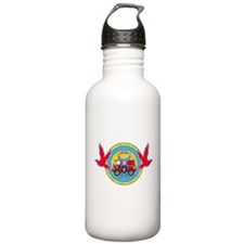 Hippie Girl and Camper Van Water Bottle