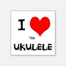 """I HEART the UKULELE Square Sticker 3"""" x 3"""""""