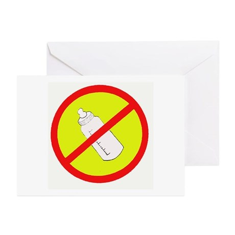 not bottle fed circle slash Greeting Cards (Packag