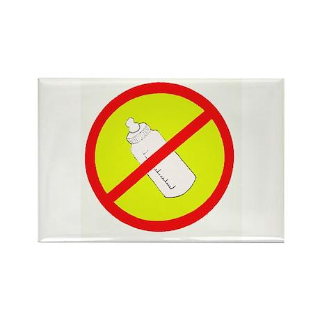 not bottle fed circle slash Rectangle Magnet (100