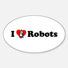 I Love Robots Oval Decal