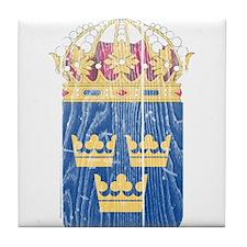 Sweden Lesser Coat of Arms wood.png Tile Coaster