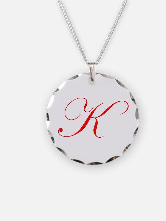 Edwardian Script-K Red.png Necklace