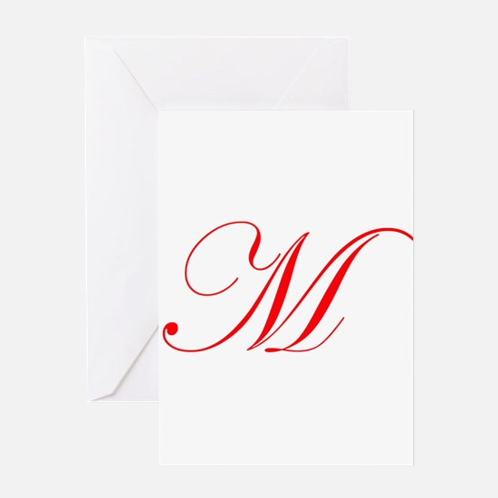 Edwardian Script-M Red.png Greeting Card