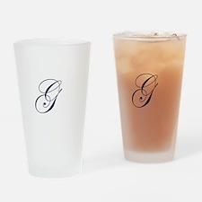 Edwardian Script-G Navy.png Drinking Glass