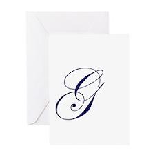 Edwardian Script-G Navy.png Greeting Card