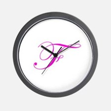 Edwardian Script-F Pink.png Wall Clock