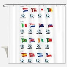 Soccer Balls And Flags Shower Curtain