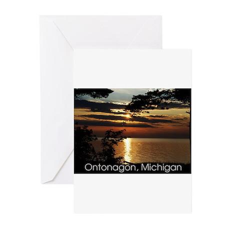Ontonagon, Michigan Sunset Greeting Cards (Pk of 1