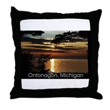 Ontonagon, Michigan Sunset Throw Pillow