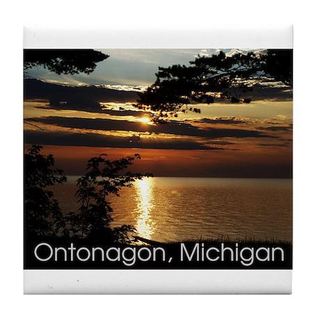 Ontonagon, Michigan Sunset Tile Coaster