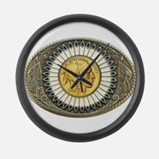 Indian gold oval 3 Large Wall Clock