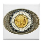 Indian gold oval 3 Tile Coaster