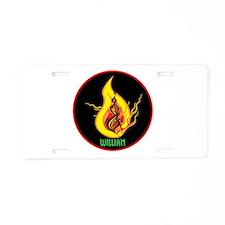 William Flames Aluminum License Plate