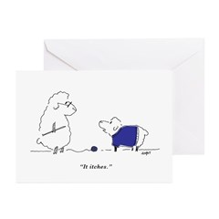 Itchy Lamb Cards (six, with inscription)