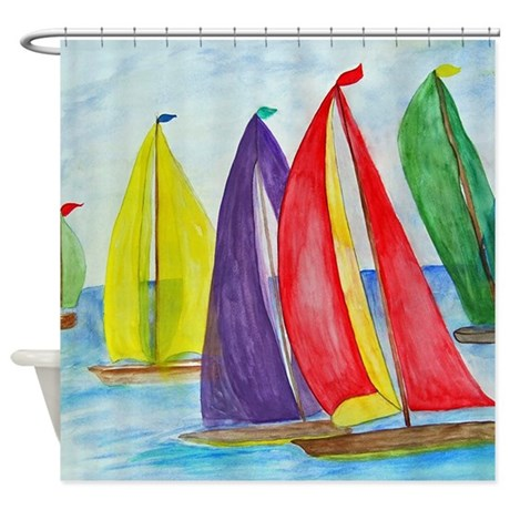 Colorful Sails Shower Curtain By Bythebeach