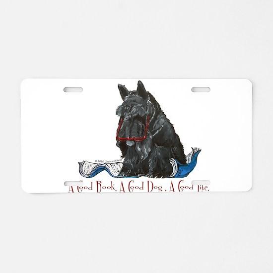 Scottish Terrier Book Aluminum License Plate