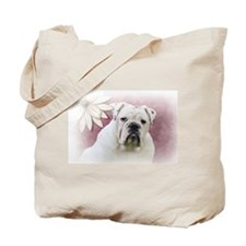 bulldog with pink background Tote Bag