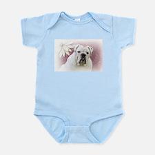 bulldog with pink background Infant Bodysuit