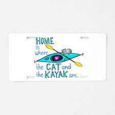 Cat and Kayak Aluminum License Plate