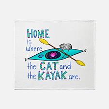 Cat and Kayak Throw Blanket