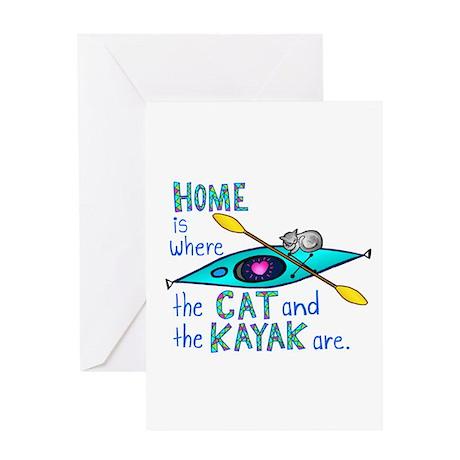 Cat and Kayak Greeting Card
