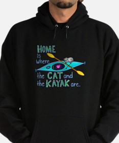 Cat and Kayak Hoodie (dark)