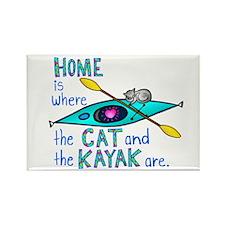 Cat and Kayak Rectangle Magnet