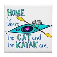 Cat and Kayak Tile Coaster