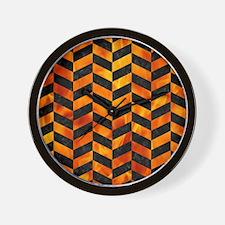 CHEVRON1 BLACK MARBLE & FIRE Wall Clock