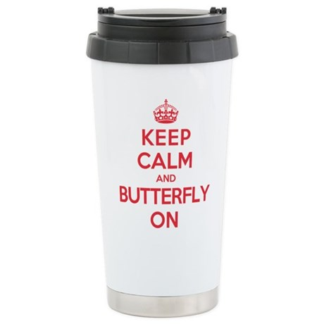 Keep Calm Butterfly Stainless Steel Travel Mug