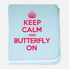 Keep Calm Butterfly baby blanket