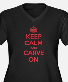 Keep Calm Carve Women's Plus Size V-Neck Dark T-Sh