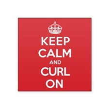 """Keep Calm Curl Square Sticker 3"""" x 3"""""""