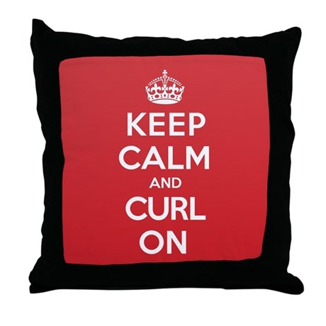 Keep Calm Curl Throw Pillow