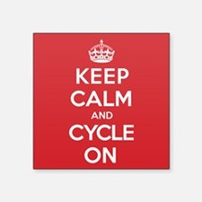 """Keep Calm Cycle Square Sticker 3"""" x 3"""""""