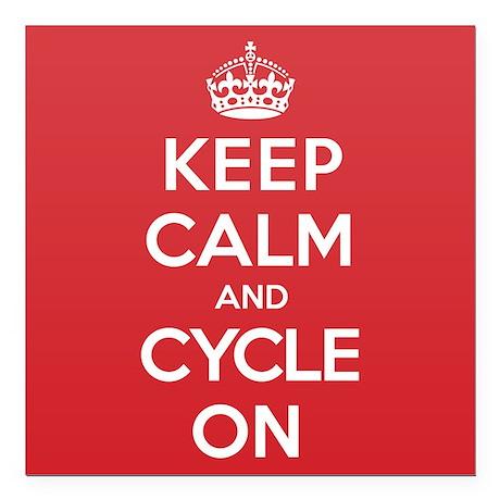"Keep Calm Cycle Square Car Magnet 3"" x 3"""