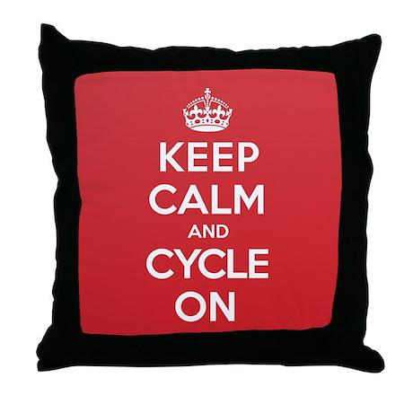 Keep Calm Cycle Throw Pillow