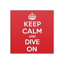 "Keep Calm Dive Square Sticker 3"" x 3"""