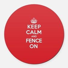 Keep Calm Fence Round Car Magnet
