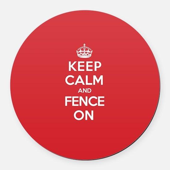Keep Calm Fence Round Car Magnet