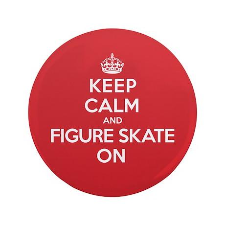 """Keep Calm Figure Skate 3.5"""" Button"""