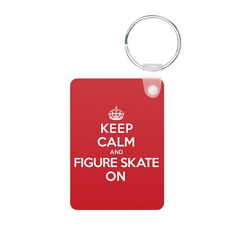 Keep Calm Figure Skate Aluminum Photo Keychain