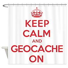 Keep Calm Geocache Shower Curtain