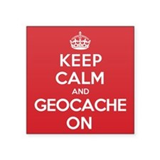 "Keep Calm Geocache Square Sticker 3"" x 3"""