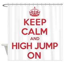Keep Calm High Jump Shower Curtain